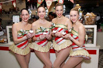 -  New York, NY - 12/6/16  - The Radio City Rockettes celebrate the 2016 Christmas Spectacular with Magnolia Bakery and the Rockette Red Velvet Cupcake   -Pictured: The Radio City Rockettes with the Rockette Red Velvet Cupcake  -Photo by: Patrick Lewis/Starpix -Loctaion: Magnolia Bakery