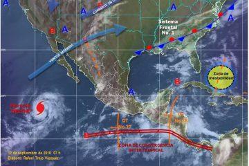 De acuerdo con los expertos, el fenómeno meteorológico, que llegó a ser huracán categoría 2 en la escala Saffir-Simpson, continuará perdiendo fuerza en las próximas horas y cada vez más adentrado en el Pacífico. (EFE)