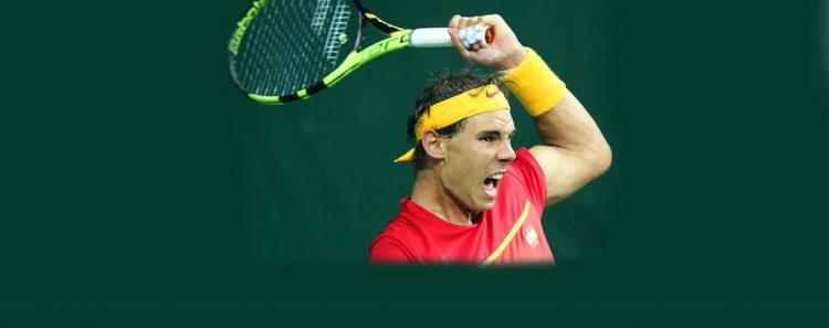 El español Rafael Nadal en acción durante Tennis Davis Cup World Group Play-Off. EFE/EPA/RAJAT GUPTA