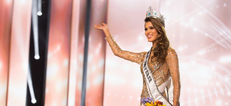 Iris Mittenaere, Miss France 2016 is crowned Miss Universe at the conclusion The 65th MISS UNIVERSE® Telecast airing on FOX at 7:00 PM ET live/PT tape-delayed on Sunday, January 29 from the Mall of Asia Arena. The new winner will move to New York City where she will live during her reign and become a spokesperson for various causes alongside The Miss Universe Organization.  HO/The Miss Universe Organization