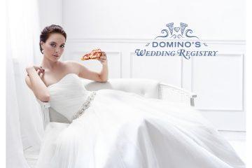 En vez de vajillas o cubertería, las parejas ahora se pueden registrar para una variedad de regalos de pizza que pueden disfrutar antes, durante o después de sus bodas. (Cortesía Domino's Pizza).