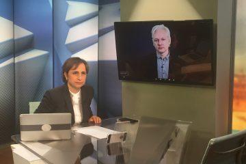 Julian Assange en entrevista exclusiva con Carmen Aristegui, en una serie especial de dos partes este lunes 17 y martes 18 de abril a las 11:00 p.m. (Miami) sólo en CNN en Español. (Cortesía CNN)