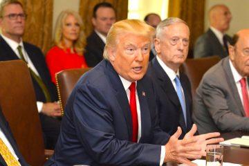 """El presidente estadounidense Donald Trump (c) asiste a una reunión con el secretario de Estado, Rex Tillerson (i), el secretario de Defensa, James Mattis (3-I) el secretario de Comercio, Wilbur Ross (2-d) y la secretaria de Transporte, Elaine Chao (d) en la Casa Blanca en Washington, Estados Unidos, el pasado, 31 de julio de 2017. La reunión se celebra con motivo del nombramiento del general John Kelly como nuevo jefe de gabinete. """"Me satisface informar de que acabo de nombrar al general secretario de Seguridad Nacional John Kelly como nuevo jefe de gabinete"""", indicó Trump en un mensaje publicado en su cuenta personal de Twitter. EFE/Mike Theiler **POOL**"""