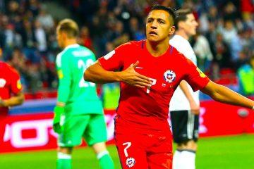 El delantero chileno Alexis Sánchez celebra tras marcar el 1-0 frente a la selección de Alemania durante un encuentro de fase de grupos perteneciente a la Copa Confederaciones 2017, disputado en el Kazan Arena, en Kazán (Rusia), el pasado, 22 de junio de 2017. EFE/Tolga Bozoglu