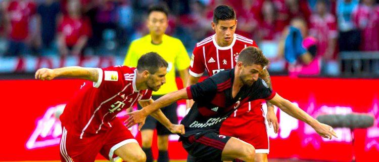 FC Bayern's James Rodriguez (R). EFE/EPA/ALEKSANDAR PLAVEVSKI