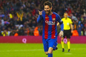 Alegría del jugador argentino del FC Barcelona, Leo Messi, tras marcar durante el partido de la trigésima jornada de Liga en Primera División que se juego en el Camp Nou. EFE/Alejandro García