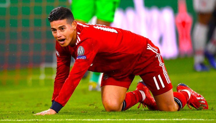 James Rodríguez del Bayern reacciona ante el Liverpool durante un partido de octavos de final de la Liga de Campeones UEFA, entre el Bayern Munich y el Liverpool FC, en el estadio Allianz Arena de Munich (Alemania). EFE