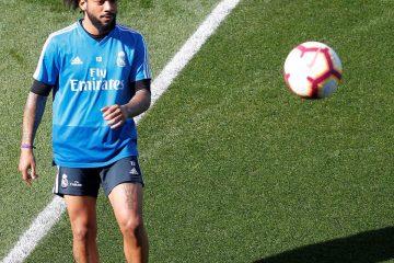 El defensa brasileño del Real Madrid Marcelo Vieira durante el entrenamiento realizado en la Ciudad Deportiva de Valdebebas. EFE