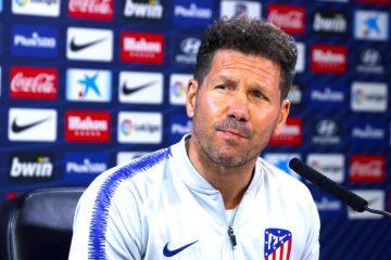 El entrenador del Atlético de Madrid, el argentino Diego Simeone, durante la rueda de prensa ofrecida en la Ciudad Deportiva Wanda de Majadahonda. EFE